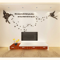New 3D Stereo Acrylic Crystal Wall stickers Butterfly Stars Kids room Living room sofa TV wall Decor DIY Sticker Wedding Gift