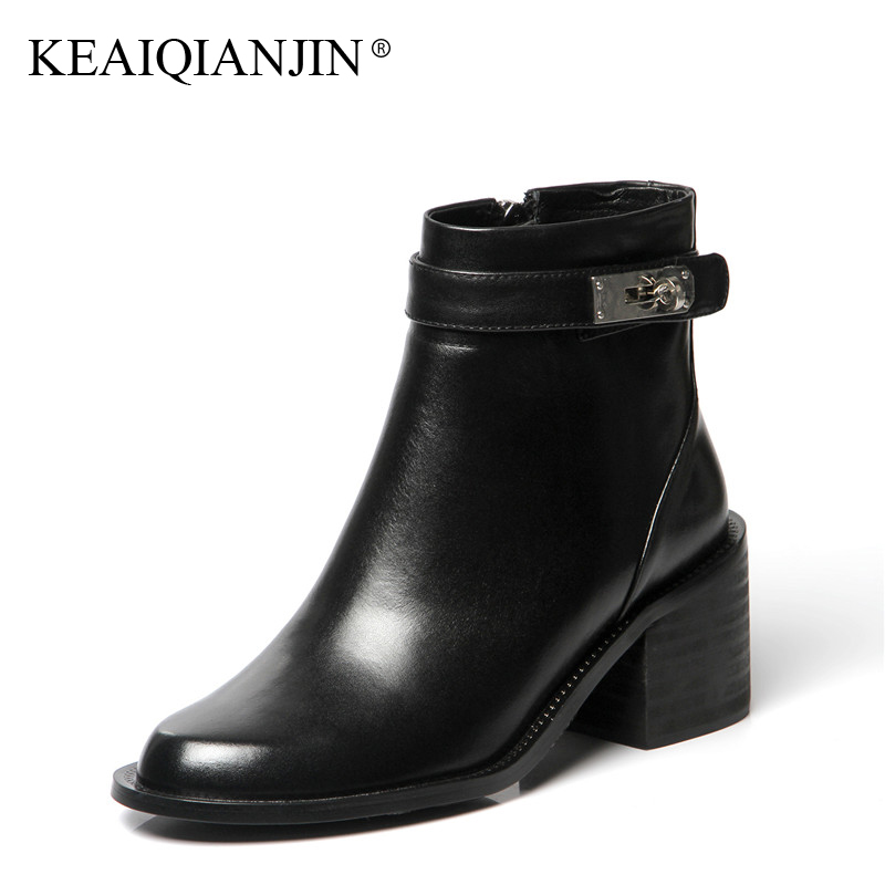 KEAIQIANJIN Woman Martens Boots Black Fashion Autumn Winter Ankle Boots Genuine Leather Shoes Buckle Strap Punk Motorcycle Boots women martin boots 2017 autumn winter punk style shoes female genuine leather rivet retro black buckle motorcycle ankle booties