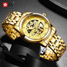 WEISIKAI Watch Men Luxury Waterproof Hollow Perspective Dial Men's Mechanical Self Wind Watches Stainless steel strap Clock vigoroso waterproof luxury smooth stainless full steel mechanical pocket watch wind up sub dial skeleton vintage antique clock