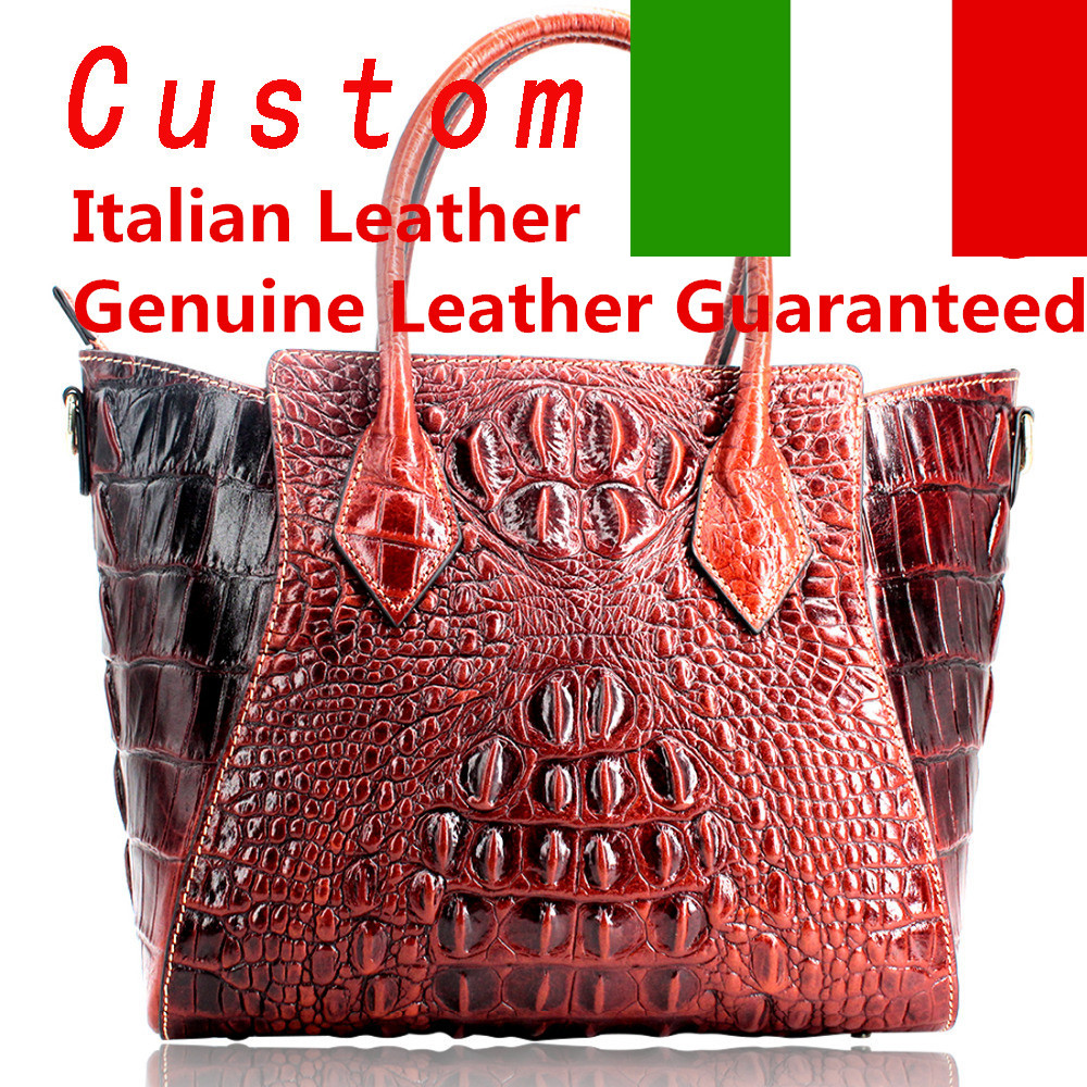 Genuine leather women big famous bags 100% real leather Nicely Embossed Crocodile Handbags for Ladies wholesale handbags