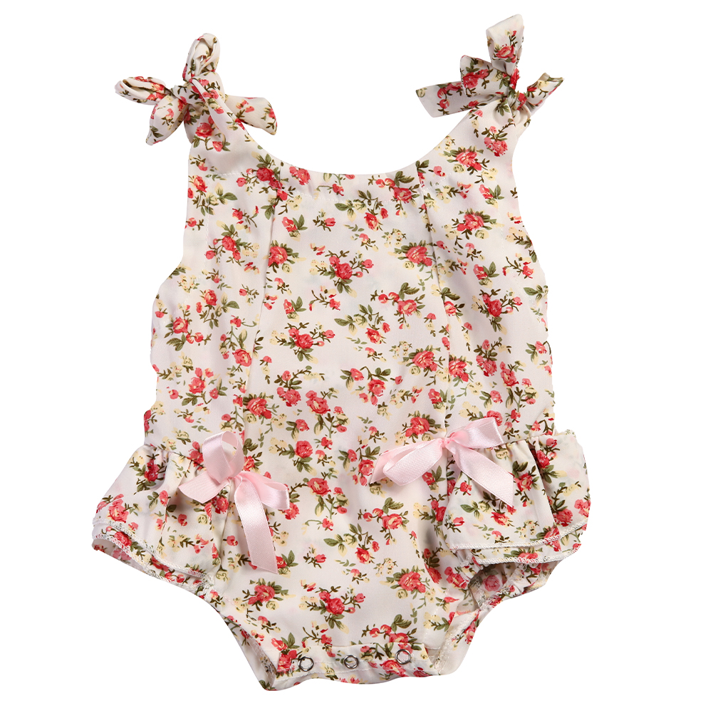 Baby Girls Floral Romper Printed Cotton Ruffle Short Sleeve Jumpsuit Shabby Flower Baby Girl Summer Clothing Baby Girl Clothes