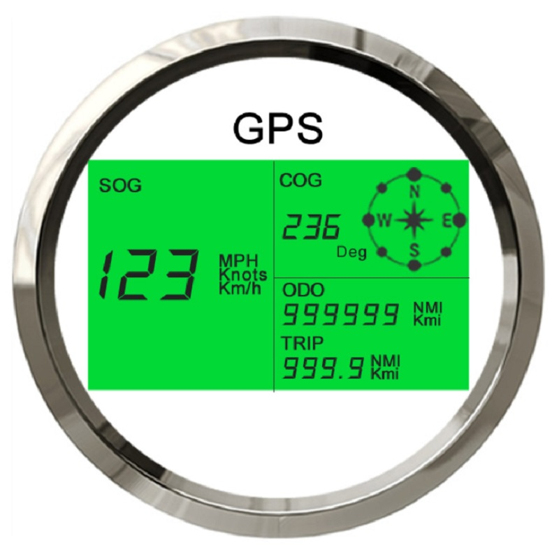 New 7 Back lights 85mm Boat Car GPS Speedometer Digital LCD Speed Gauge Odometer Course with