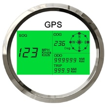 New 7 Back lights 85mm Boat Car GPS Speedometer Digital LCD Speed Gauge Odometer Course with GPS Antenna