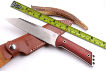 Wild Boar 9CR18MOV Blade Outdoor Tactical Knife Wood Handle Survival Knife Camping Fixed Knives Leather Sheath