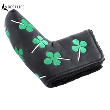 1PCS Thick PU Golf Headcover Putter Cover Blade Golf Head cover For Golf club Activity Green Four Leaf Clover Accessories
