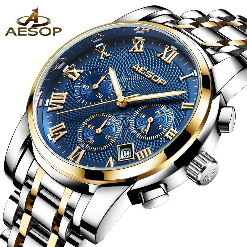 Men's Watches Waterproof Chronograph Stainless Steel Analog Quartz Watch Men Luxury Brand Fashion Dress Business Wristwatc