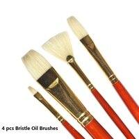WINSOR&NEWTON Artist special bristle Paintbrushes oil Acrylic paint brushes painting supplies 4pcs/set