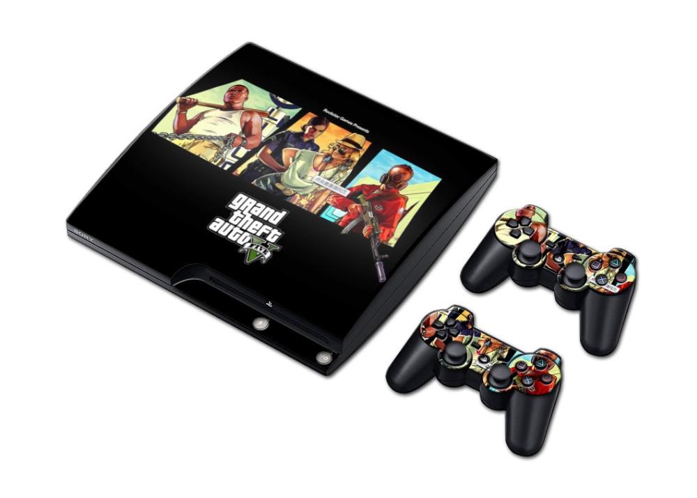 1 conjunto gta 5 vinyle autocollant pour playstation console ps3 slim jogos jeu 2 pcs skins. Black Bedroom Furniture Sets. Home Design Ideas