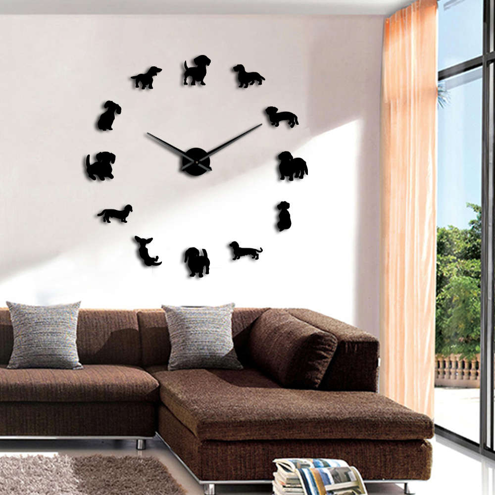 Dachshund Clock DIY Large Wall Clock Wiener-Dog Puppy Dog Mirror Frameless Giant 3D Wall Watches Sausage Dog Wall Decor