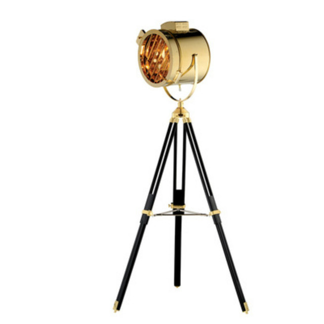 Vintage Loft Industrial Stainless Steel Wood Led Tripod Searchlight
