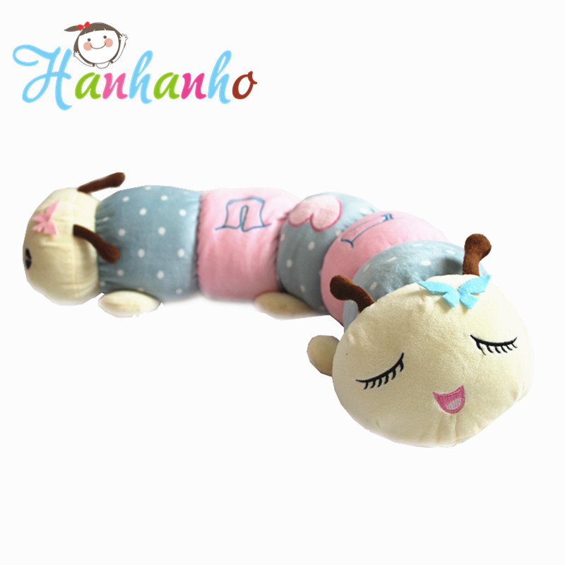 Hanhanho 75cm Lovely Caterpillar Plush Toy Kids Sleeping Long Pillow Stuffed Animal Cushion Doll Gift stuffed animal lovely husky dog plush toy about 180cm prone dog doll 70 inch throw pillow sleeping pillow toy h892