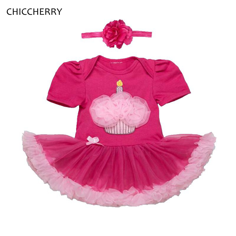 Ruffle Cake 1 and 2 Years Birthday Dress Lace Tutu Romper Headband Baby Girl Clothes Infant Clothing Vestidos Robe Bebe Fille