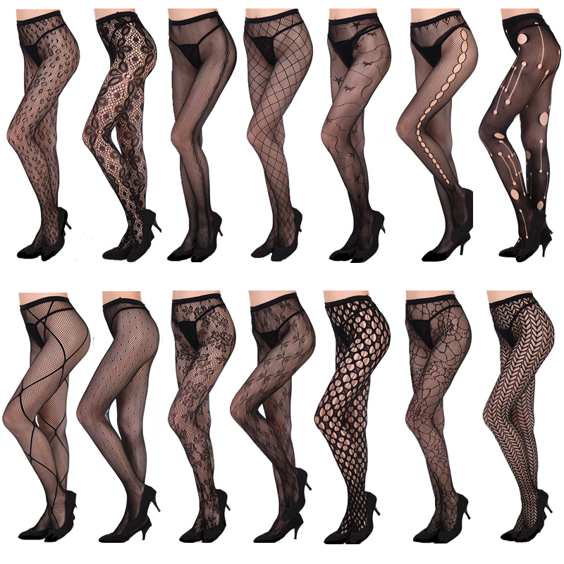HSS Hollow Women Out Medias Sexy Lady Medias Malla Tatuajes Jacquard High Fishnet Bordado Transparente Negro Lace Pantyhose