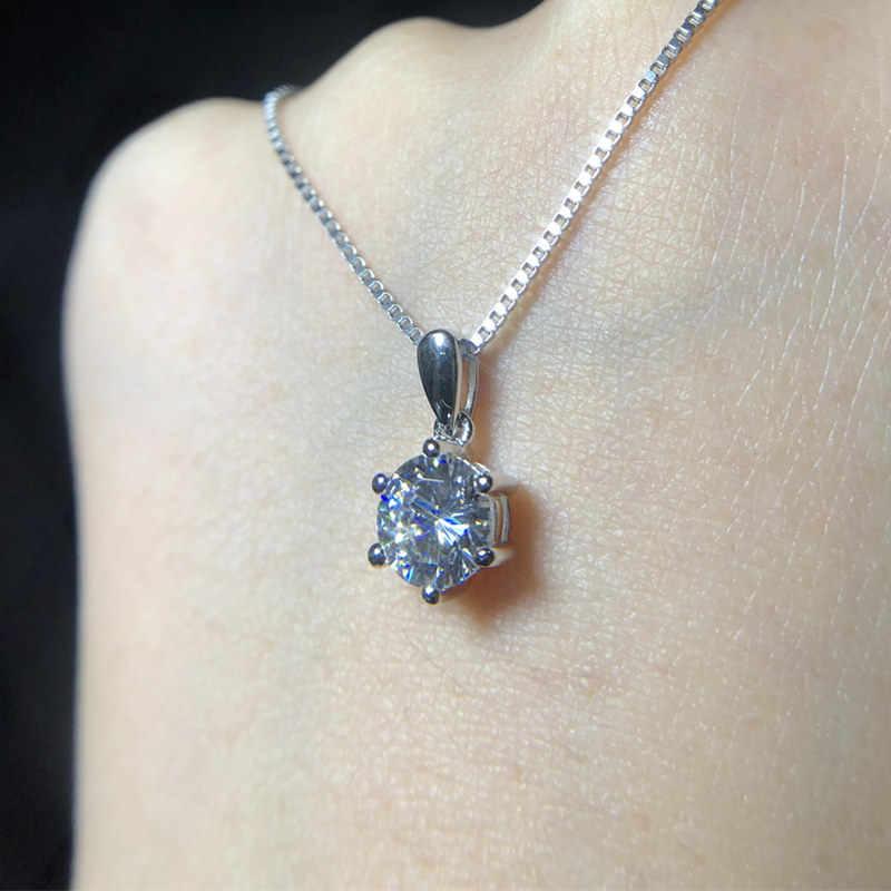 """Link """" pokaż dane kontaktowe """"srebrny certyfikat! YINHED 100% 925 Sterling Silver biżuteria 6 pazury okrągła cyrkonia wisiorek naszyjnik dla kobiet ZN136"""