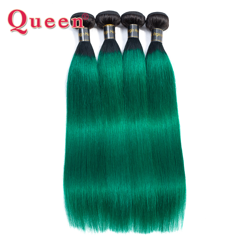 Queen Hair Products Peruvian Straight 2 Tone Ombre Green Human Hair 1B/Turquoise Dark Roots Green 1/3/4 Bundles 100% Remy Hair