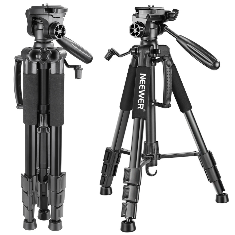 Neewer Draagbare 56 inches/142 cm Aluminium Camera Statief 3-Way Swivel Pan Hoofd + Draagtas voor Canon Nikon Sony DSLR Camera