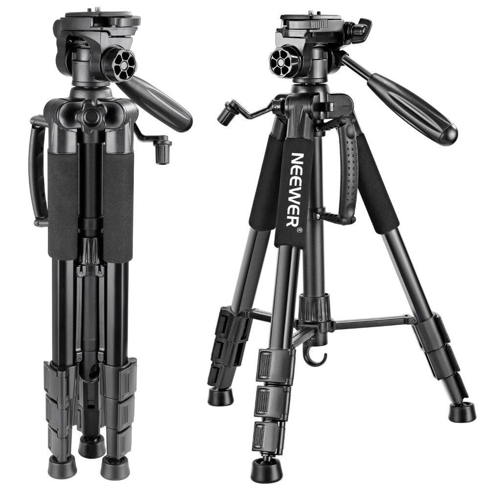 Neewer portátil 56 pulgadas/142 cm Trípode de cámara de aluminio 3 vías giratorio Pan Head + bolsa de transporte para cámara Canon Nikon Sony DSLR