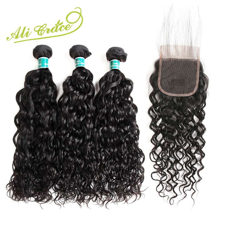 Ali Grace Malaysian Naturewave Human Hair Bundles With Closure 3 PCS Malaysian Remy Hair Middle Free