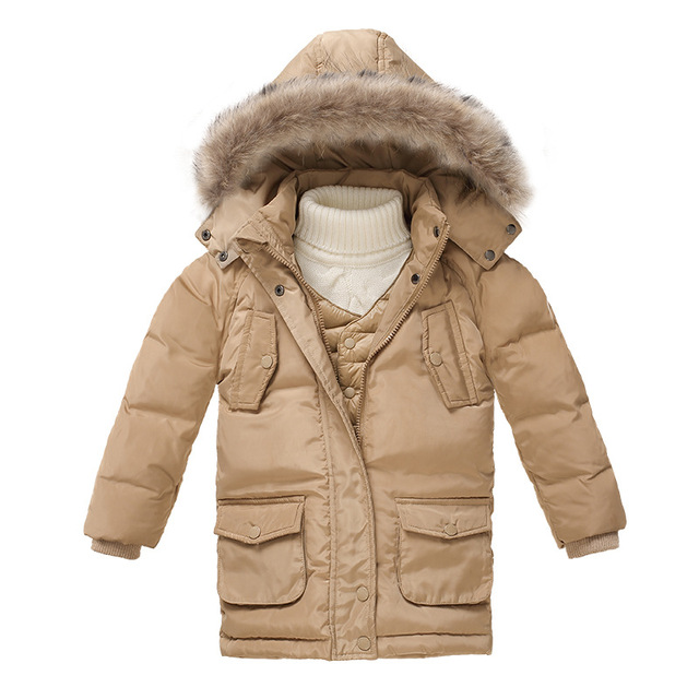 New 2017 boys fur collar quilted waterproof duck down jacket outwear kids winter warm snow coat baby boys winter clothing