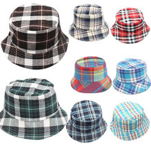 Unisex Toddler Baby Kids Boys Girls Plaid Pattern Bucket Hats Sun Helmet Cap 54cm For 24M~6Years old Dropshipping(China)