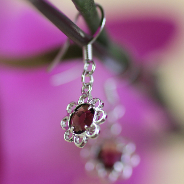 Элегантные серьги с матча браслет красивый цветок форма установка сверкающих сирень бусы, серьги