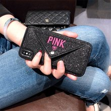 Luxury PINK Brand NEW Glitter Embroidery Leather Fashion Hot Cute Pink Case for iPhone 7 Plus 7+ 8 Plus 6 6s Plus X Phone Secret(China)