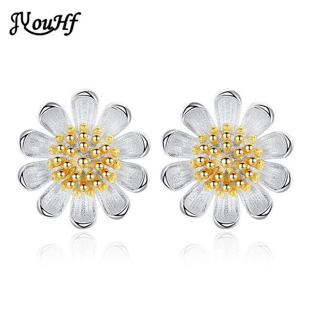 JYouHF korean Elegant Earrings Tiny Daisy Flower Silver Golden Color Stud Earrings for Girls Female Gift Jewelry Accessories