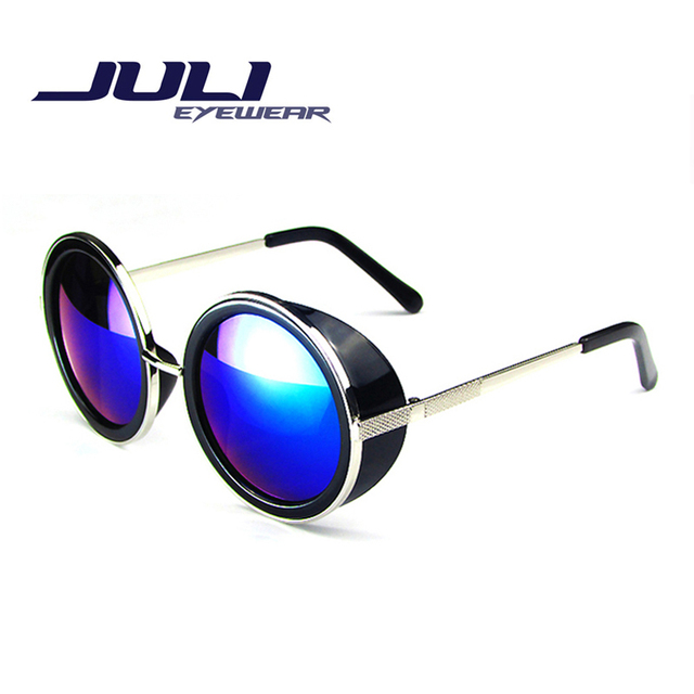 80's Style Vintage Style Coating Sunglass Round Fashion Sunglasses Women Brand Designer Steam Punk Metal Sun Glasses Men Retro