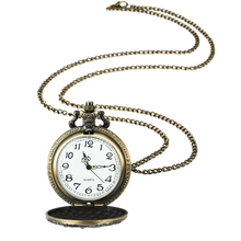 Retro Bronze Steampunk Mechanical Pocket Watch Men Women FOB Chain Hollow Deer carving Unique Roman Number Double-sided Watches wholesale red bronze retro vintage cat classic arabic number brass mechanical pocket watch fob watches with short waist chain