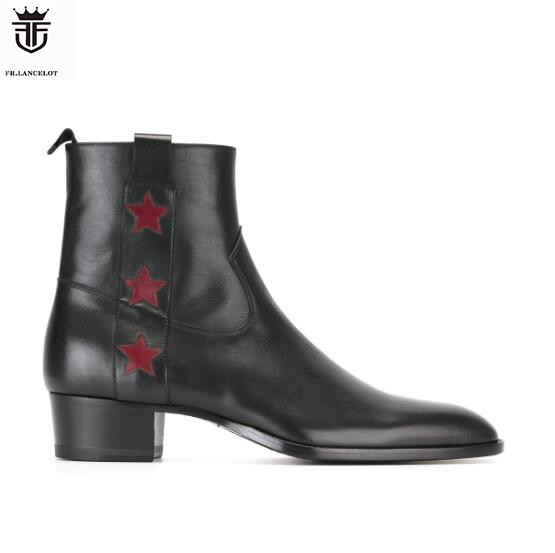 FR.LANCELOT 2019 star Black leather Men Ankle Boots British Style Flats Shoes Mens Zapatos De Mujer Shoes MensFR.LANCELOT 2019 star Black leather Men Ankle Boots British Style Flats Shoes Mens Zapatos De Mujer Shoes Mens