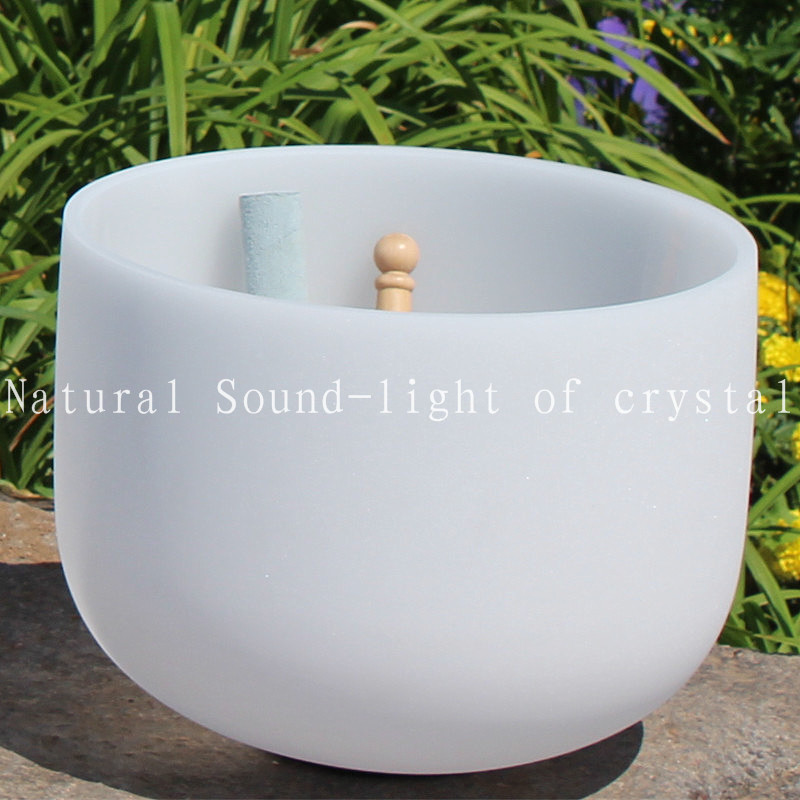 Frosted Singing Quartz Crystal Bowl Of 12 Inch Note E Chakra Solar Plexus Meditation Bowl For Suede Mallet