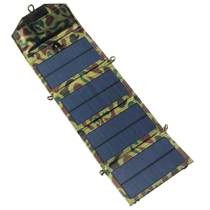 Haute Qualité 7 W 5 V Portable Pliant Chargeur Solaire Pour téléphone Mobile/Puissance Banque Chargeur USB Sortie