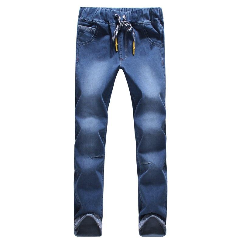 Новинка 2017 сезона стиль высокого качества модные тонкие straightfeet мужские джинсы с эластичной талией Закрепите ремень джинсы Большие размеры ... ...