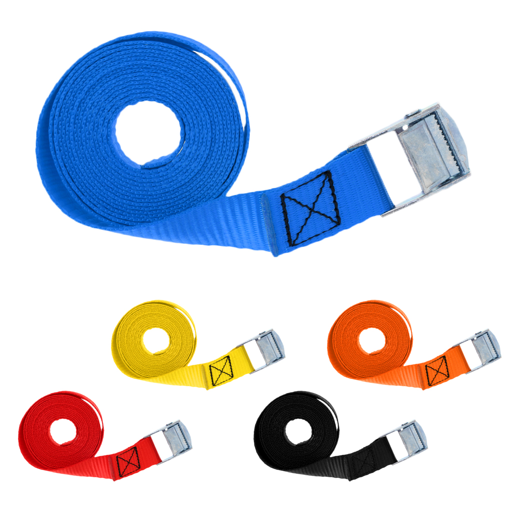 Polyester Cam Buckle Tie Down Strap Cargo Luggage Belt Metal Buckle 25mm X 2.5m Cam-Locking Tie Down Straps For Securing Kayaks