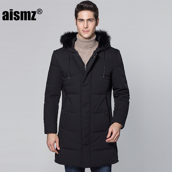 Aismz Withstand -40 Degrees Thick Winter Jacket Men Big Real Fur Collar Hooded Down Jacket warm 90% White Long duck down coat