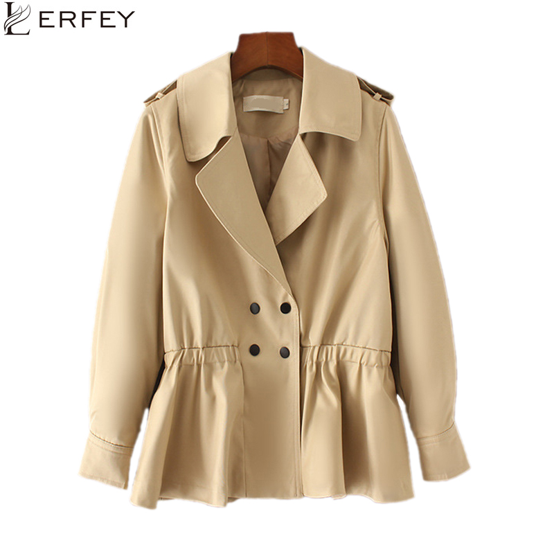 LERFEY Women   Trench   Coat Autumn Slim Solid Color OL Brief Style Long Sleeve Windbreaker Casual Coats Spring Outwear Clothing