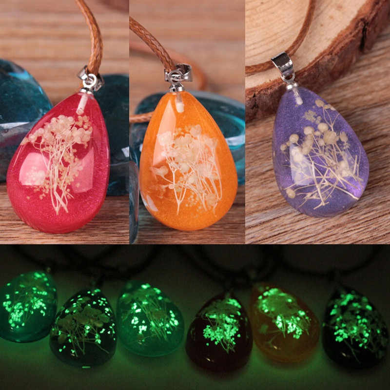 Beautiful Women's Necklace Amazing Luminous Choker Dried Flower Teardrop Pendant Necklaces Charm Chain Jewelry Necklaces Torque