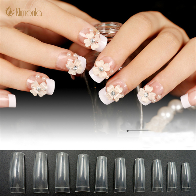 500pcs French Fake Nails Acrylic Long False Square Gel For Salon Clear White Designs
