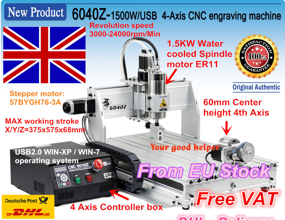 EU free VAT USB port 4-Axis 6040Z 1500W 1.5KW Spindle motor USB Mahc3 CNC Router Engraver Engraving Milling machine 220VAC 1pc 4axis cnc router 6040z usb mach3 auto engraving machine with 1 5kw vfd spindle and usb port for hard metal 110 220v