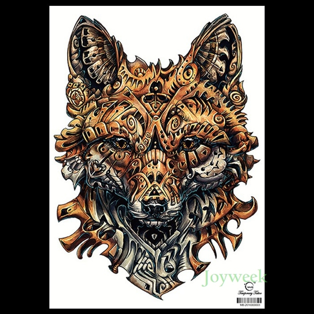 034375825 Waterproof Temporary Tattoo Sticker armor wolf large whole back tatto  stickers flash tatoo fake tattoos for men women