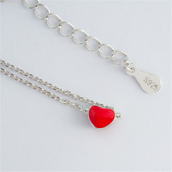 925 sterling silver anklet halhal on foot leg Korean fashion red love ankle peach heart anklets for women cute jewelry 4