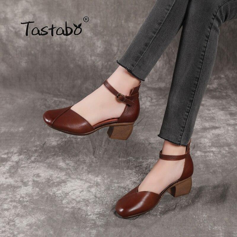 Tastabo 100% 本革の女性の靴ベルトバックルハイヒールデザインシンプルなカジュアルスタイル茶黒 S19051 高  靴  グループ上の 靴 からの レディースパンプス の中 1