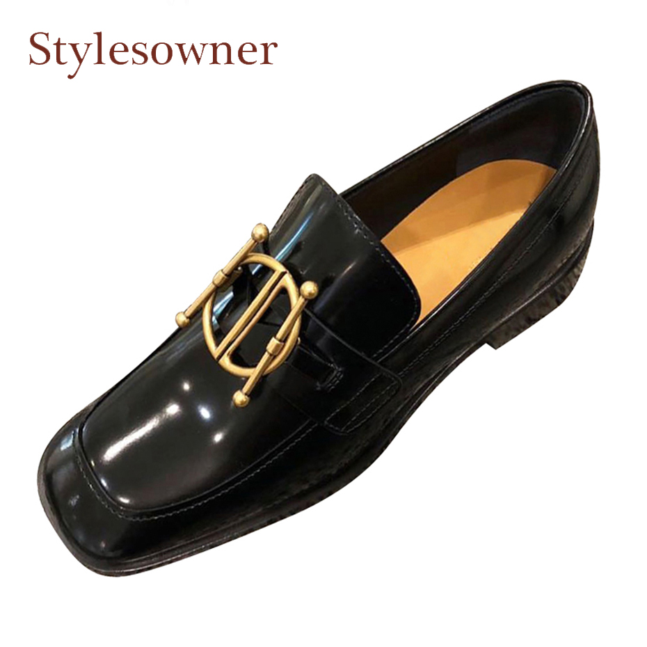 Stylesowner metal buckle decoration loafers women genuine leather flats shoes british style square toe lazy women casual shoes women ladies flats vintage pu leather loafers pointed toe silver metal design