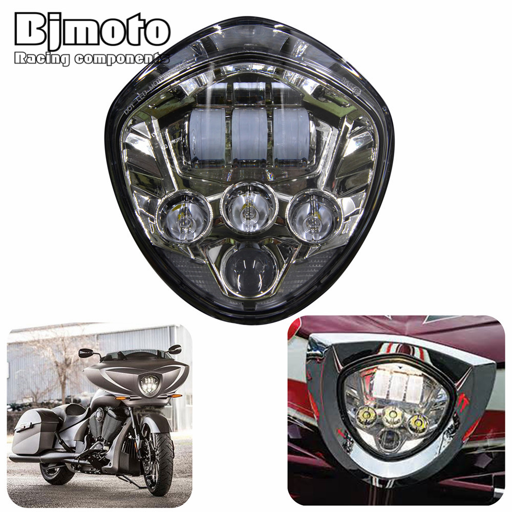 BJMOTO Victory Motorcycle 60W LED Headlight lamp Black H4 H/L Beam For Victory cross-country 2010-16 CROSS MODELS,07-16 CRUISERS директ бокс dbx di4