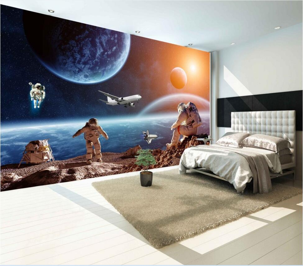 Modern Photo Wallpaper Star Earth Space Universe Moon Wall paper 3D Large Mural Living Room Sofa Backdrop Wall Murals Wallpaper large murals cats animal 3d papel mural wallpaper for living room background 3d wall photo murals wall paper 3d wall sticker