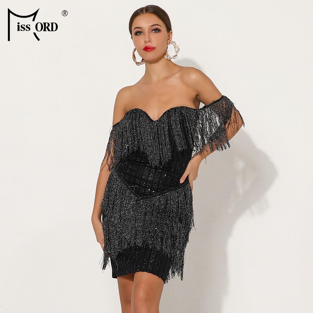 bdbf22eb0d gorge Mini Élégante Noir Rayé Gland Missord Encolure Ft19030 Robe 1  Vestdios Soutien Glitter 2019 ...