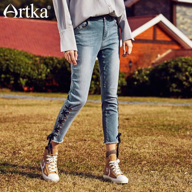 ARTKA ใหม่ฤดูร้อนผ้าพันคอ Leisure เอวธรรมชาติทั้งหมดตรงกับหญิงข้อเท้ายาวกางเกงผอม KN10182C-ใน ยีนส์ จาก เสื้อผ้าสตรี บน   1