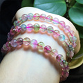 High Quality Natural Top Grade Genuine Clear Green Pink Watermelon Tourmaline Stretch Bracelet Round Beads Necklace 3 Turns 6.5