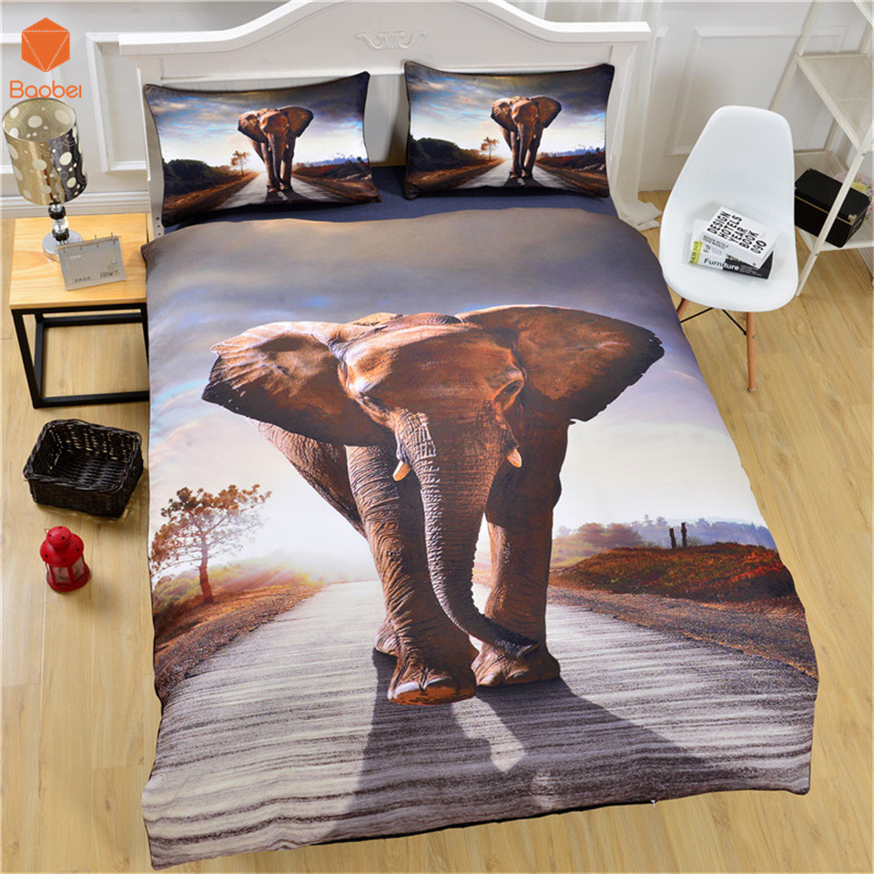 3Pcs Bedding Set  HD Elephant  Duvet Cover With Pillowcases  Printed Bedclothes Queen King Duvet Cover Sets Bedspread  SJ146