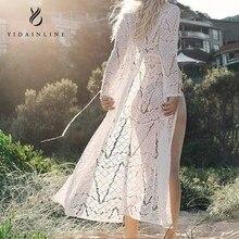 Для женщин Пляж Cover up кружево крючком бикини длинные Cover up парео Para playa Туники Для пляжное платье de Plag накидка на купальный костюм